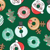 Christmas Donuts - Santa, Rudolph, Snowman - holiday donuts - dark green - LAD19