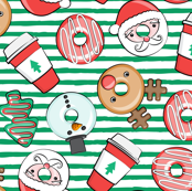 Coffee and Donuts - Christmas donuts - santa, reindeer, snowman, christmas tree - holiday doughnuts (green stripes) - LAD19