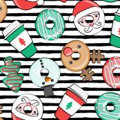 Coffee and Donuts - Christmas donuts - santa, reindeer, snowman, christmas tree - holiday doughnuts (black  stripes) - LAD19