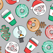 Coffee and Donuts - Christmas donuts - santa, reindeer, snowman, christmas tree - holiday doughnuts (grey) - LAD19