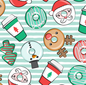 Coffee and Donuts - Christmas donuts - santa, reindeer, snowman, christmas tree - holiday doughnuts (mint stripes) - LAD19