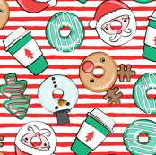 Coffee and Donuts - Christmas donuts - santa, reindeer, snowman, christmas tree - holiday doughnuts (red stripes) - LAD19