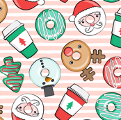 Coffee and Donuts - Christmas donuts - santa, reindeer, snowman, christmas tree - holiday doughnuts (pink stripes) - LAD19