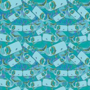 Whale party-sea foam green