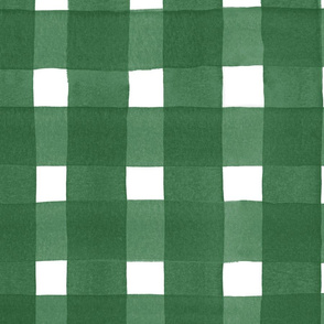 forest green watercolor buffalo check | large scale