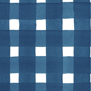 navy watercolor buffalo check | large scale