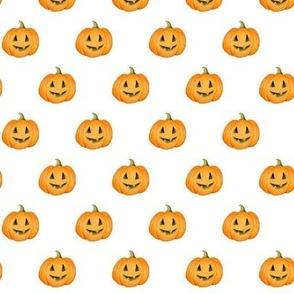 Jack-o'-lantern Rows Halloween Pumpkins on white - small scale