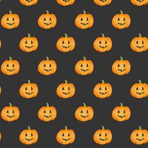 Jack-o'-lantern Rows Halloween Pumpkins on black-night - small scale