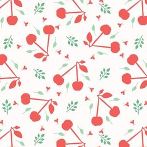 Cherry fruit seamless vector pattern background.