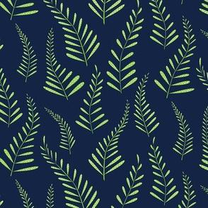 Ferns - Indigo and Green-smaller