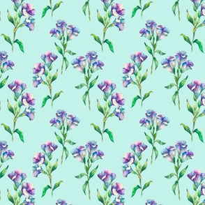 Delicate Colorful botanical seamless pattern with purple flowers on light blue background