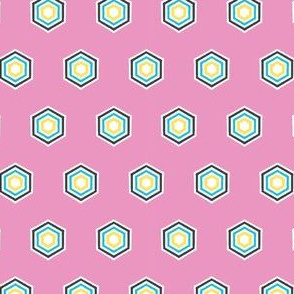 Geometric retro hexagon shape seamless pattern