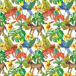 Wild feline_ toucan and flowers in the jungle watercolor seamless pattern on white