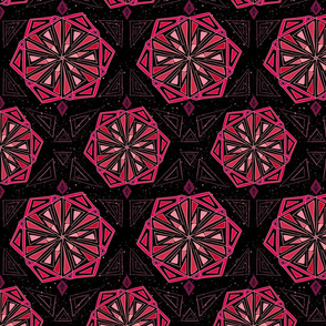 Pink color block mandala