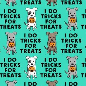 (small scale) I do tricks for treats - halloween pit bulls - teal - LAD19BS