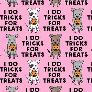(small scale) I do tricks for treats - halloween pit bulls - pink - LAD19BS