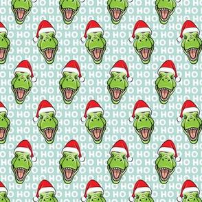 (small scale) Santa Trex - Tyrannosaurus Dinosaur - Christmas - hohoho - mint - LAD19BS