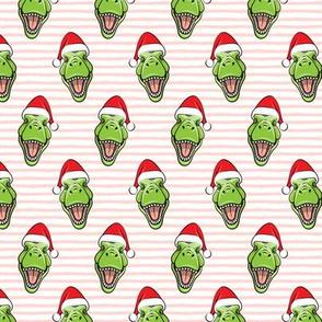(small scale) Santa Trex - Tyrannosaurus Dinosaur - Christmas -  pink stripes - LAD19BS
