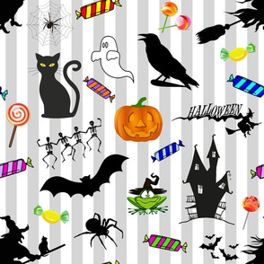 Halloween Fun! silver stripes