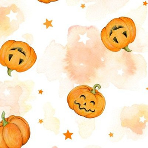 Halloween Pumpkins and Stars scattered on watercolour orange and white, medium scale