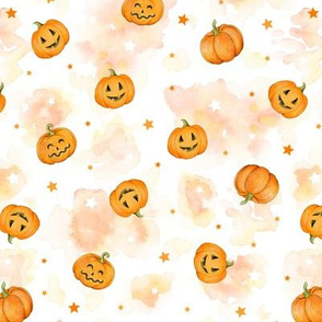 Halloween Pumpkins and Stars scattered on watercolour orange and white, small scale