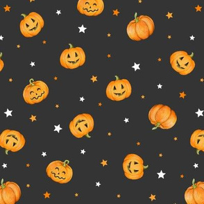 Halloween Pumpkins and Stars scattered on black night, small scale