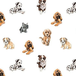 Puppy Print - Watercolor Dogs