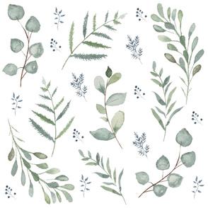 Watercolor leaves greenery (Large)