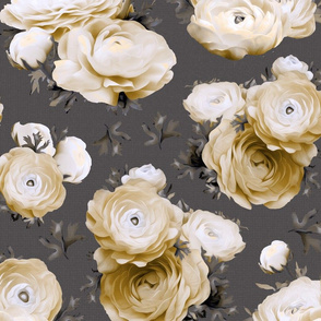 Oversized Floral Neutral Gold