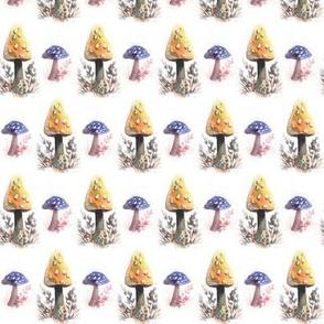 yellow and blue mushrooms