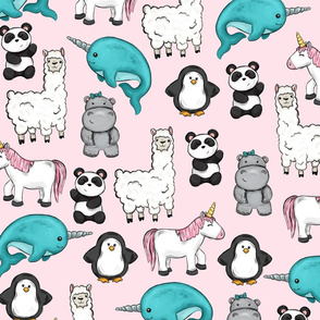 Unicorn and Friends Pink Print