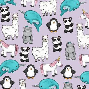 Narwhal and Friends Purple Print