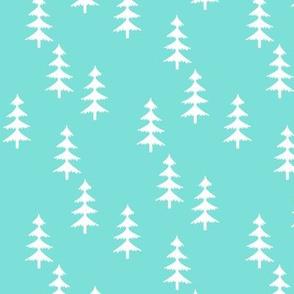 Trees (aloha blue) Woodland Forest Fabric