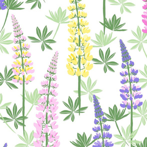 Lupine Fields white yellow extra large