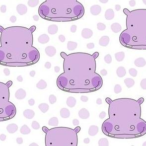 lavender hippo faces with lavender spots