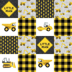 "(3"" small scale) Little Man - Construction Nursery Wholecloth - yellow and black plaid - LAD19BS"