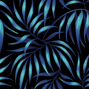 Palm Leaf Coordinate - Petrol Blue