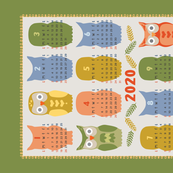 Calendar 2020 Owl Multi Color