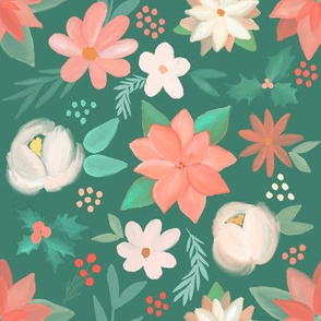 christmas - pastel florals on green