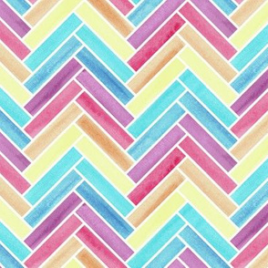 Rainbow watercolour Colour Block Herringbone Pattern