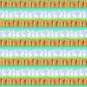 white bunny rabbits rainbow carrots on blue stripes