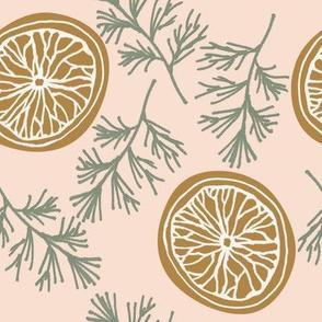 dried orange slices on blush