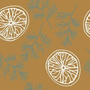 dried orange slices on mustard 2