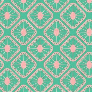 Pink and Mint Green Sunburst Tiles