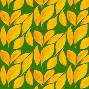 Golden Autumn Leaves on Lime Shadows - Small Scale