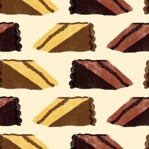 Chocolate + yellow cake slices