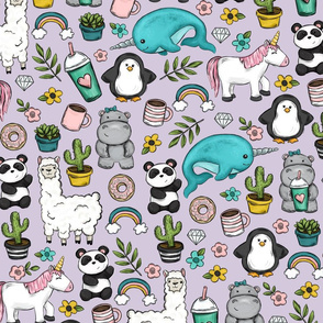 Purple Emoji Animal Tween Print, Cute Narwhals and Unicorns, Llamas and Pandas