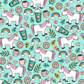 Unicorns and Frappuccinos, Rainbows and Flowers, Donuts and Diamonds, Blue