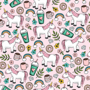 Unicorns and Frappuccinos, Coffee and Donuts, Rainbows and Flowers, Pink