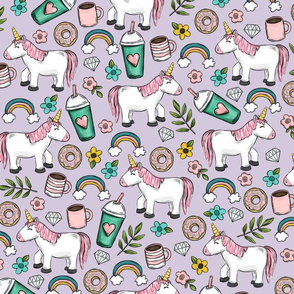 Unicorns and Frappuccinos, Rainbows and Donuts, Purple